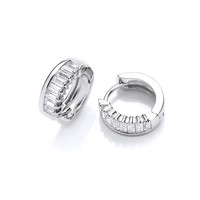 Silver & Baguette Cut Cubic Zirconia Huggie Earrings