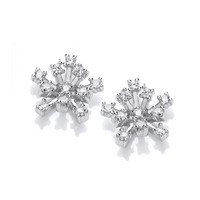 Silver & Cubic Zirconia Snow Crystal Earrings