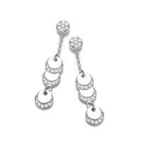 Silver and CZ Discs Drop Earrings