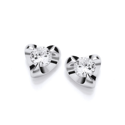 Silver & Cubic Zirconia Modo Heart Earrings