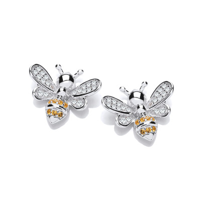 Yellow Honey Bee Silver & Cubic Zirconia Earrings