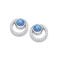 Silver, CZ and Blue Opalique Circles Earrings