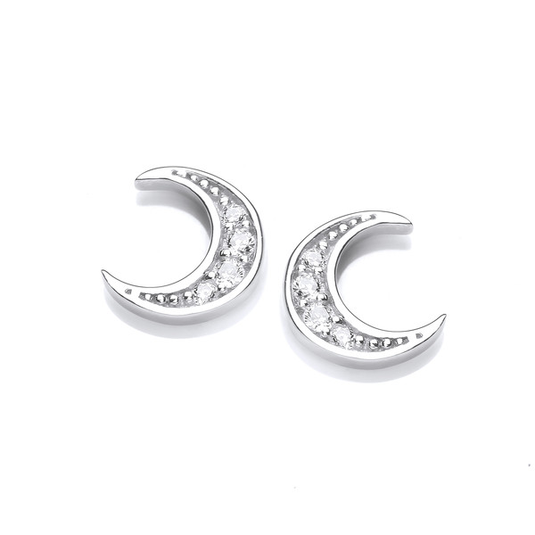 Silver & Cubic Zirconia Crescent Moon Earrings