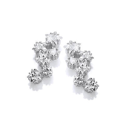 Silver & Cubic Zirconia Stars at Night Earrings
