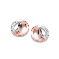 Silver, CZ and Rose Gold Yin Yang Earrings