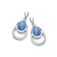 Silver, CZ and Blue Opalique Teardrop Earrings