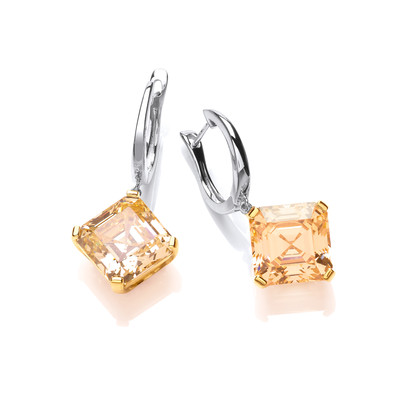 Silver & Citrine Cubic Zirconia Vintage Style Earrings