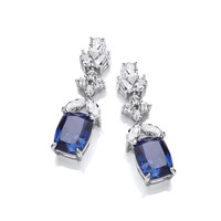 Silver and Tanzanite CZ 'Oscars' Earrings