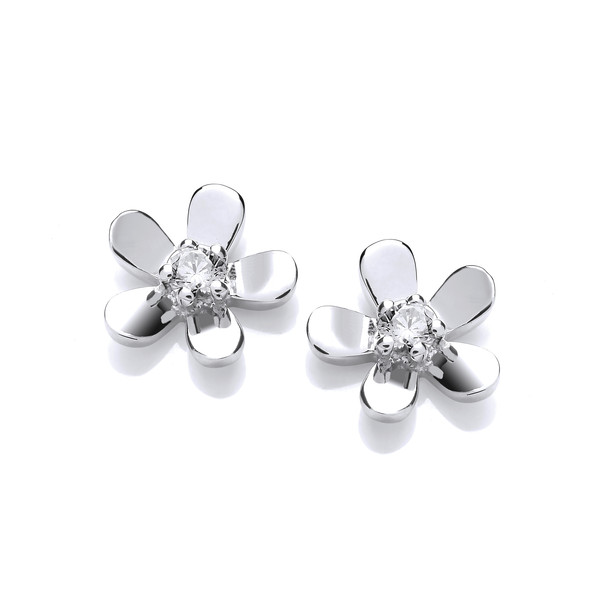 Silver & Cubic Zirconia Tiny Flower Earrings
