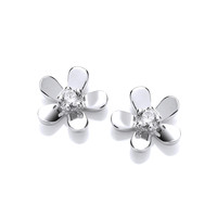 Sterling Silver CZ Centre Tiny Flower Earrings