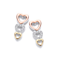 Silver, CZ and Gold Hearts Earrings