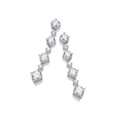 Silver & Cubic Zirconia Stunning Graduated Earrings