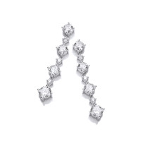 Silver and CZ Stunning Graduated Earrings