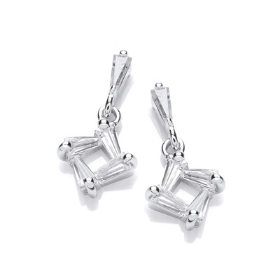 Silver & Cubic Zirconia Square Drop Earrings