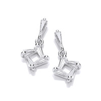 Silver and CZ Square Drop Earrings