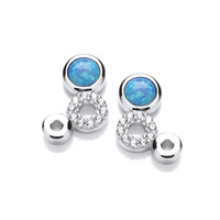 Silver, CZ and Blue Opalique Triple Circle Earrings