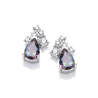Silver & Alexandrite Cubic Zirconia Teardrop Earrings