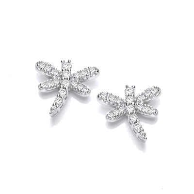 Silver & Cubic Zirconia Dragonfly Earrings