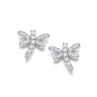 Silver and CZ Dragonfly Earrings