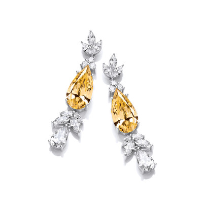 Silver & Citrine Cubic Zirconia Belle Epoque Style Earrings