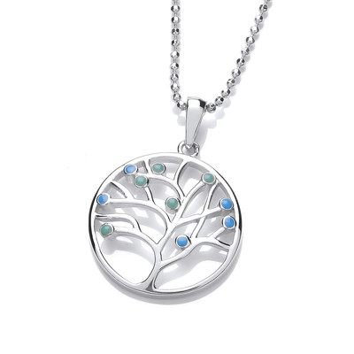 Silver and Blue Opalique Tree of Life Design Pendant