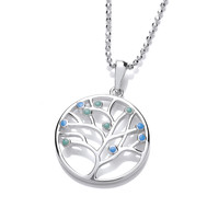 Silver and Blue Opalique Tree of Life Pendant