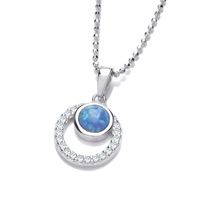 Silver, CZ and Blue Opalique Circles Pendant