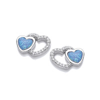 Silver, CZ and Blue Opalique Linked Heart Earrings