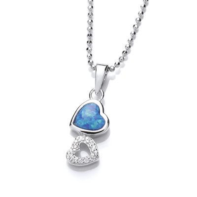 Silver, CZ and Blue Opalique Linked Heart Pendant