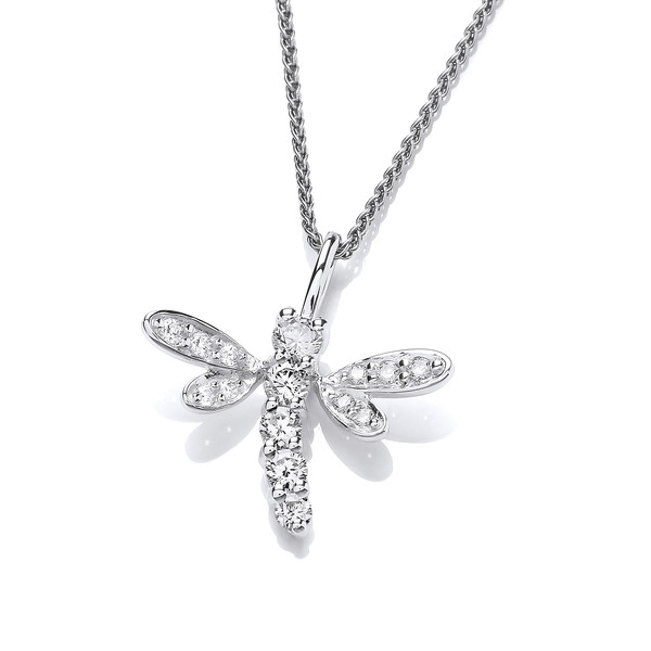 Silver and CZ Dragonfly Pendant without Chain