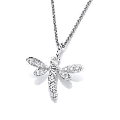 Silver and CZ Dragonfly Pendant with Silver Chain