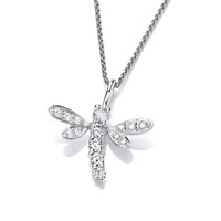 Silver and CZ Dragonfly Pendant