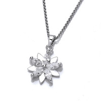 Silver and CZ Crysanthemum Pendant