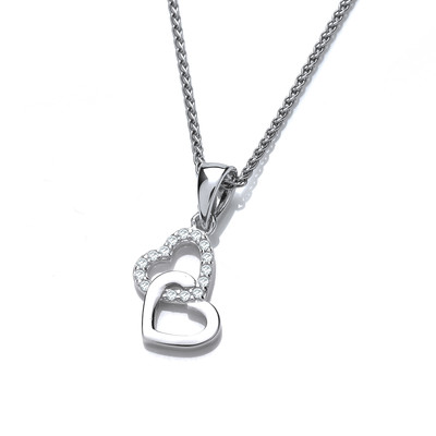 Silver and CZ Interlinked Hearts Pendant