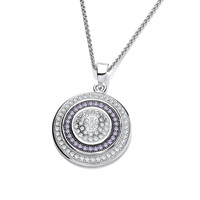 Silver and Amethyst CZ Target Pendant
