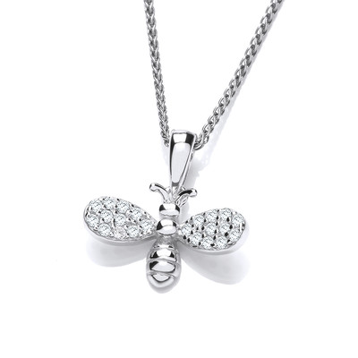 Silver and CZ Sparkle Bee Pendant