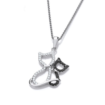 Silver and CZ Cat and Kitten Pendant