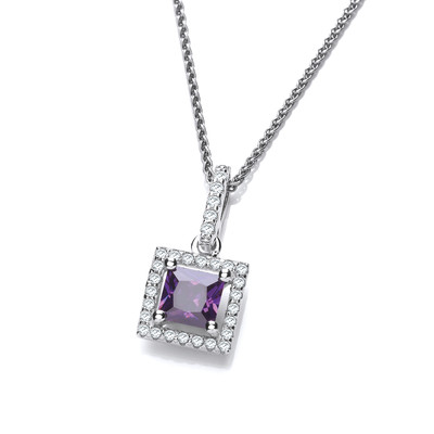 Silver and Amethyst CZ Deco Style Pendant