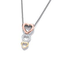 Silver, CZ and Gold Hearts Pendant