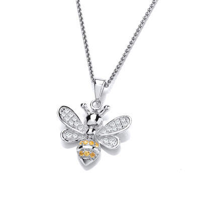 Silver and CZ Yellow Honey Bee Pendant