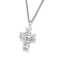 Silver and CZ Chunky but Mini Cross Pendant