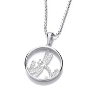 Celestial Silver and CZ Dragonfly Pendant