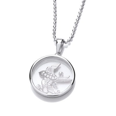 Celestial Silver and CZ Swallow Pendant