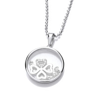 Celestial Silver and CZ Four Leaf Clover Pendant