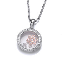 Celestial Rose Gold and CZ Flower Pendant