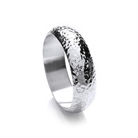 Classic Wide Hammered Sterling Silver Bangle