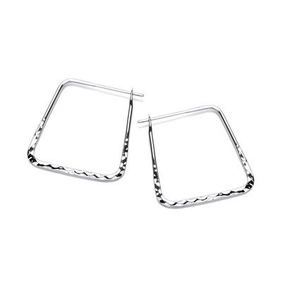 Square Silver Horseshoe Earrings