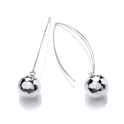 Sterling Silver Long Drop Bauble Earrings