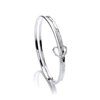 Silver Double Band Organic Heart Bangle