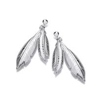 Silver Double Feather Spirit Drop Earrings